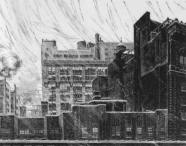Grace Albee, a bleak urban neighborhood in a snow storm