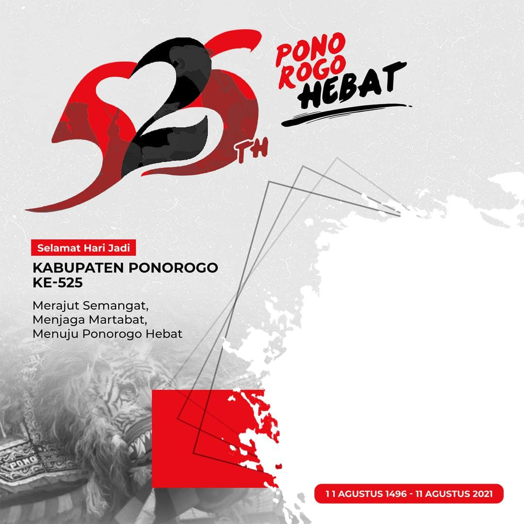 Desain Template Background Frame Bingkai Twibbon Hari Ulang Tahun Kabupaten Ponorogo 2021