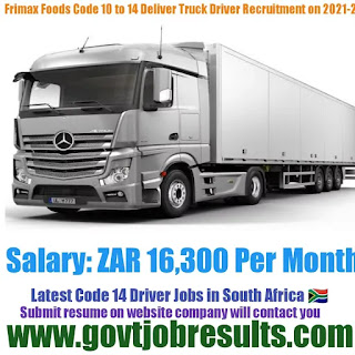 Frimax Foods Delivery Truck Code 10 to 14 Driver Recruitment 2021-22