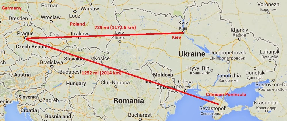 Distance between Prague and the Ukraine