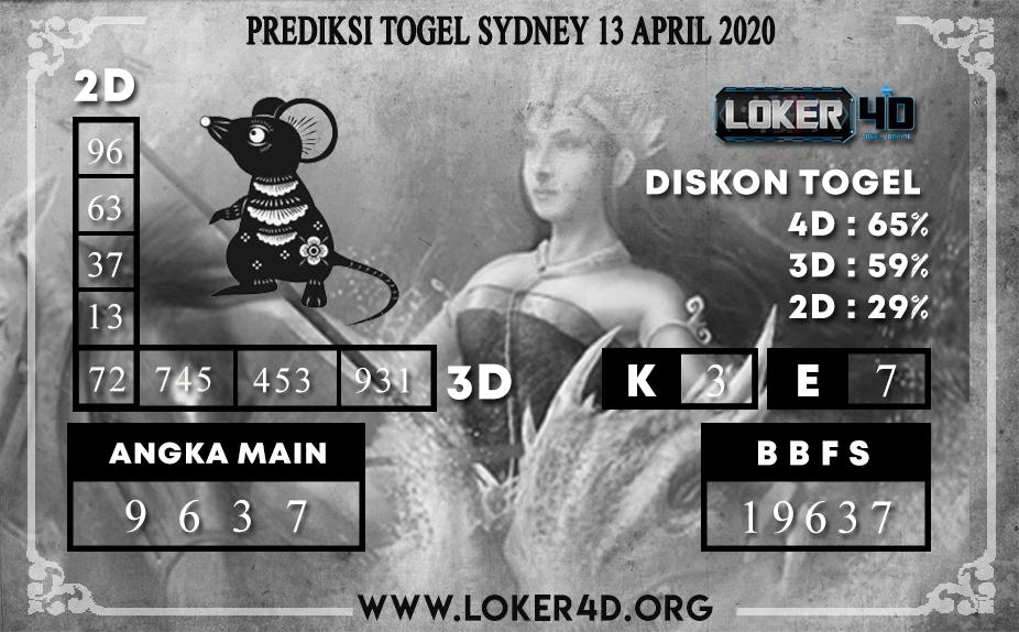 PREDIKSI TOGEL SYDNEY LOKER4D 13 APRIL 2020