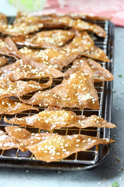 Honey Glazed Fried Wonton Chips
