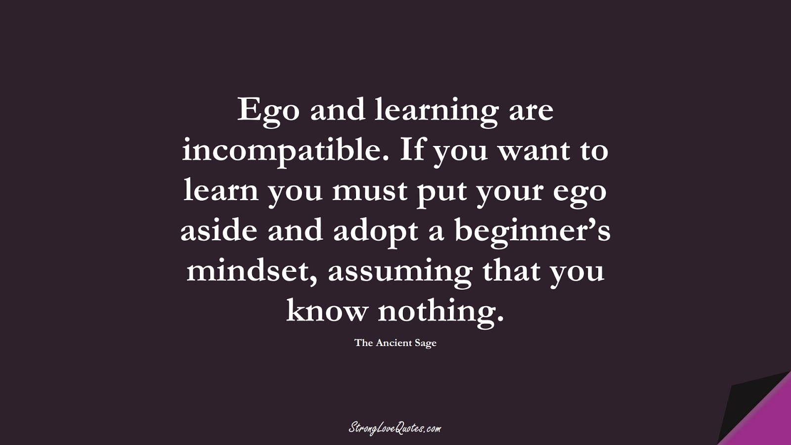 Ego and learning are incompatible. If you want to learn you must put your ego aside and adopt a beginner's mindset, assuming that you know nothing. (The Ancient Sage);  #LearningQuotes