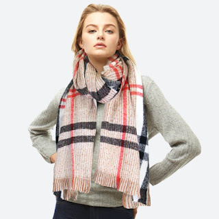 cream plaid cozy winter scarf with neon pink and black stripes