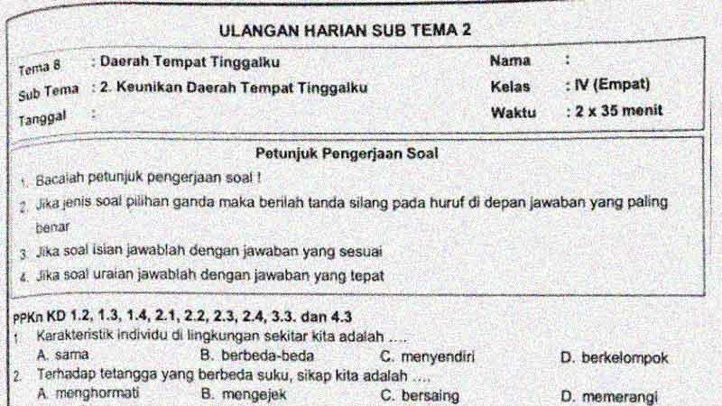Soal Penilaian Harian Kelas 4 Tema 8 Subtema 2