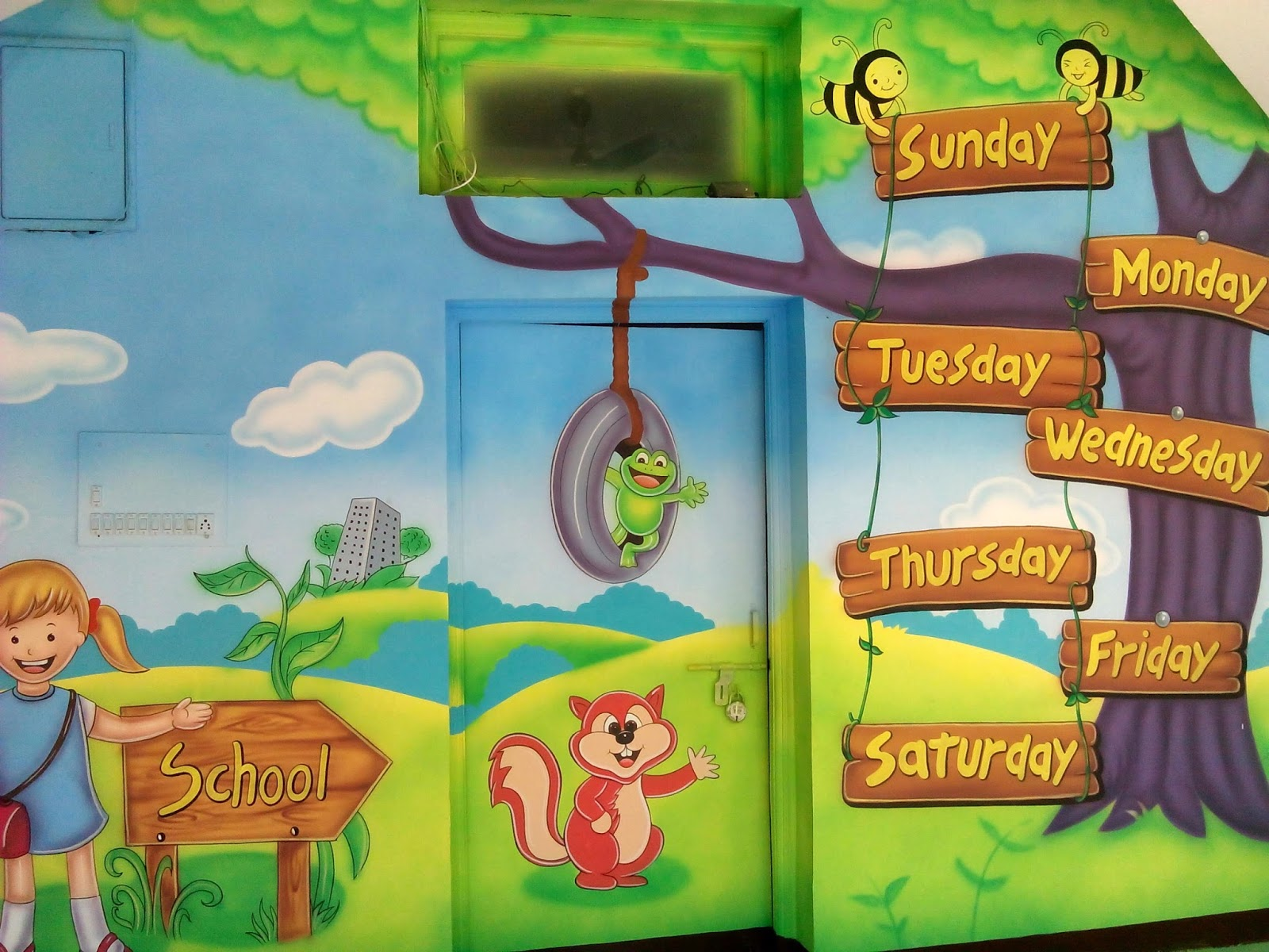 Wall Decoration In Play School : Play school wall painting decoration and
