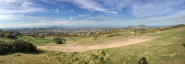 Panoramic view from the summit of Braid Hills hiking path, Edinburgh, Scotland
