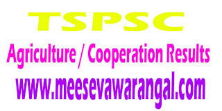 TSPSC 2016 Agriculture Officers Under the Department of Agriculture/ Cooperation Results