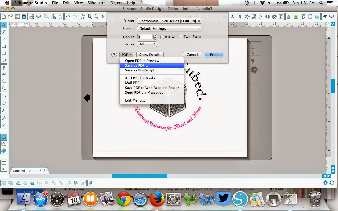 Silhouette Studio, files, PDF, convert, save as PDF