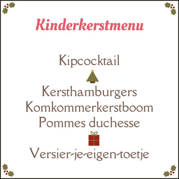 Een compleet kerstmenu voor kinderen; met recepten en inspiratie voor een kipcocktail, kersthamburgers, komkommerkerstboom, pommes duchesse en versier-je-eigen-toetje.