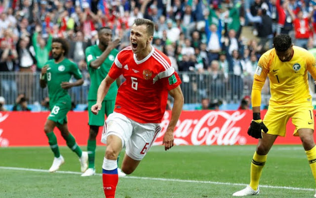 Rusia hancurkan Arab Saudi 5-0 pada pembukaan Piala Dunia