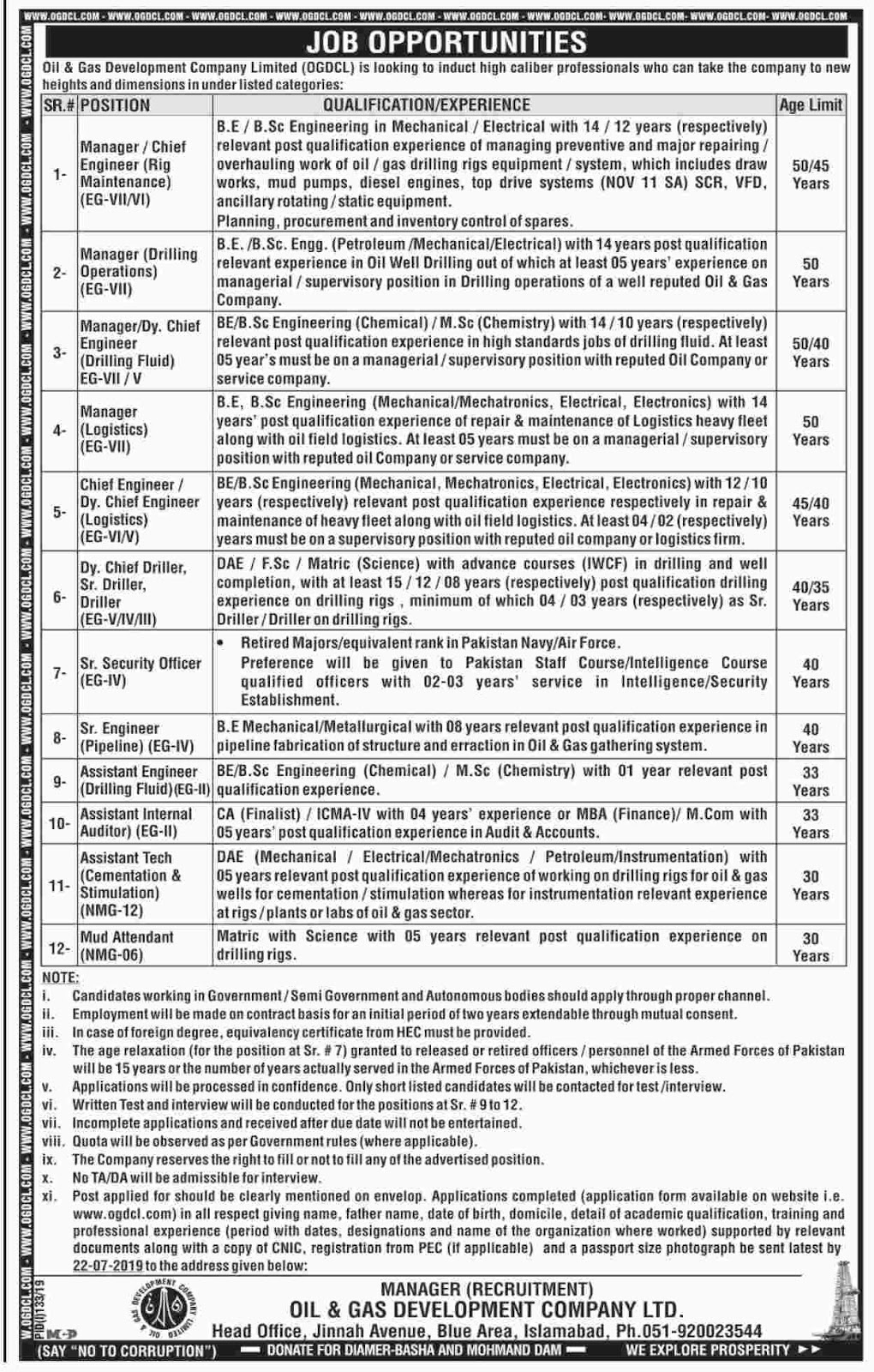 Advertisement for Oil and Gas Company Jobs