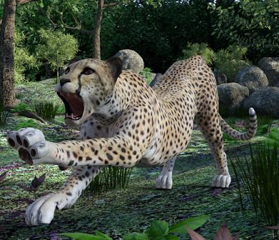 Cheetah mit Waldstück als Hintergrund