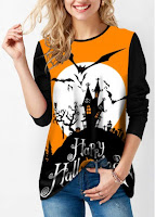 Round Neck Halloween Print Long Sleeve Sweatshirt