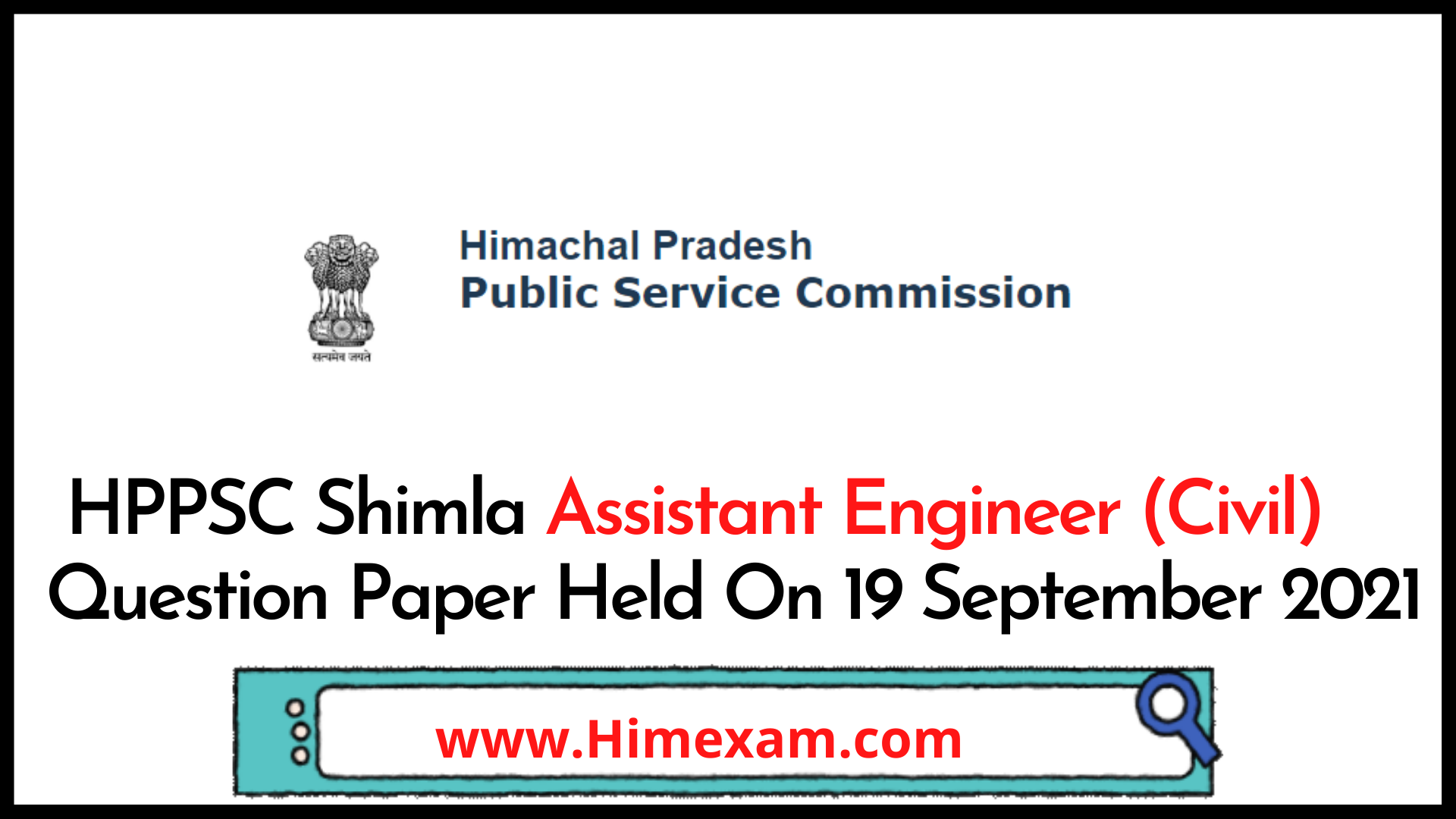 HPPSC Shimla Assistant Engineer (Civil) Question Paper Held On 19 September 2021