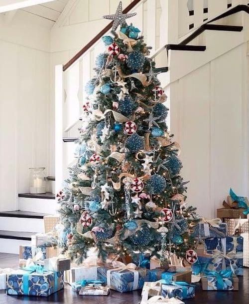 Blue & Sparkly Coastal Christmas Tree Decorations