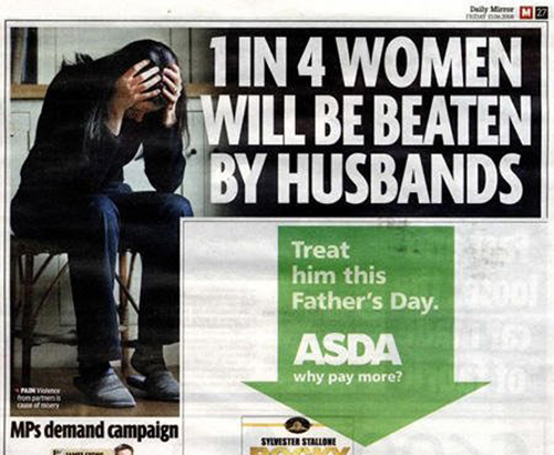 Hilarious Funny Unfortunate Ad Photo Image Wife Beating Asda
