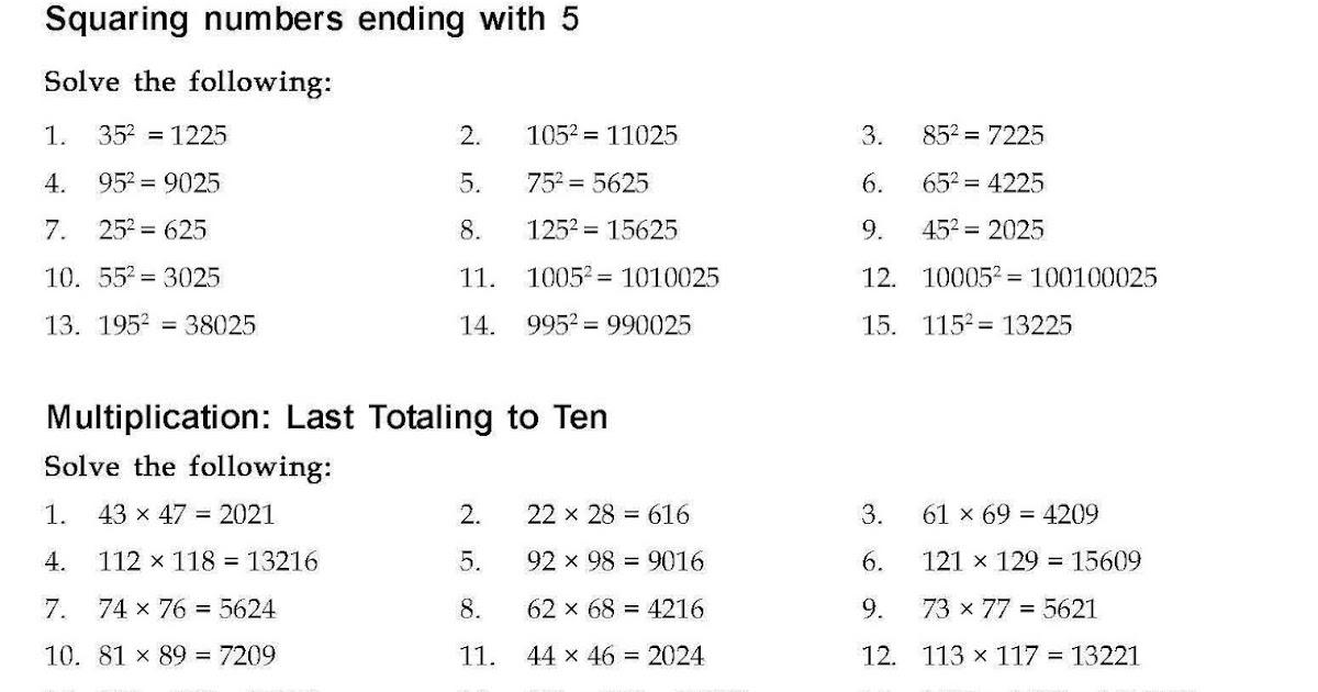 Answer Vedic Mathematics Worksheet For Presidency School Ajmer