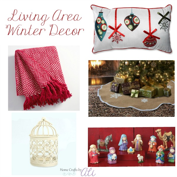 Living area winter decor nativity pillow throw lantern tree skirt
