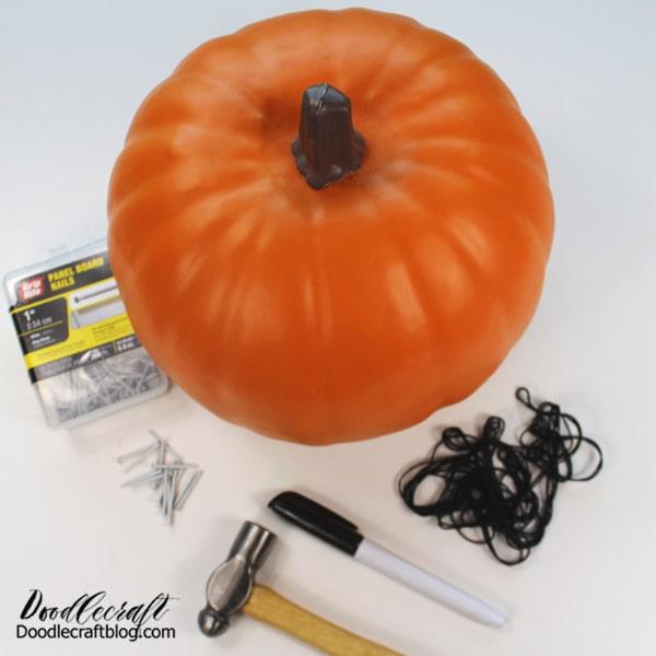 Supplies Needed for String Art Pumpkin: Craft Foam Pumpkin Panel Board Nails Hammer Black Embroidery Floss Marker