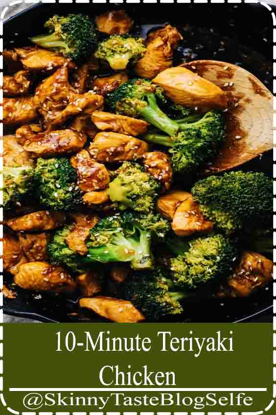 4.7 | ★★★★★ Quick & easy 10-minute Teriyaki Chicken & Broccoli. Juicy chicken in a homemade teriyaki sauce - SO yummy and perfect for takeout at home. An easy dinner recipe that is healthy, low carb, and delicious. Make for busier week nights or as meal prep to enjoy throughout your week! #chicken #dinner#Teriyaki