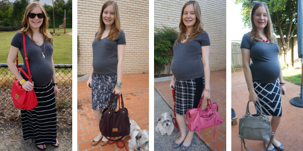 4 grey tee and baby bump outfits | away from the blue