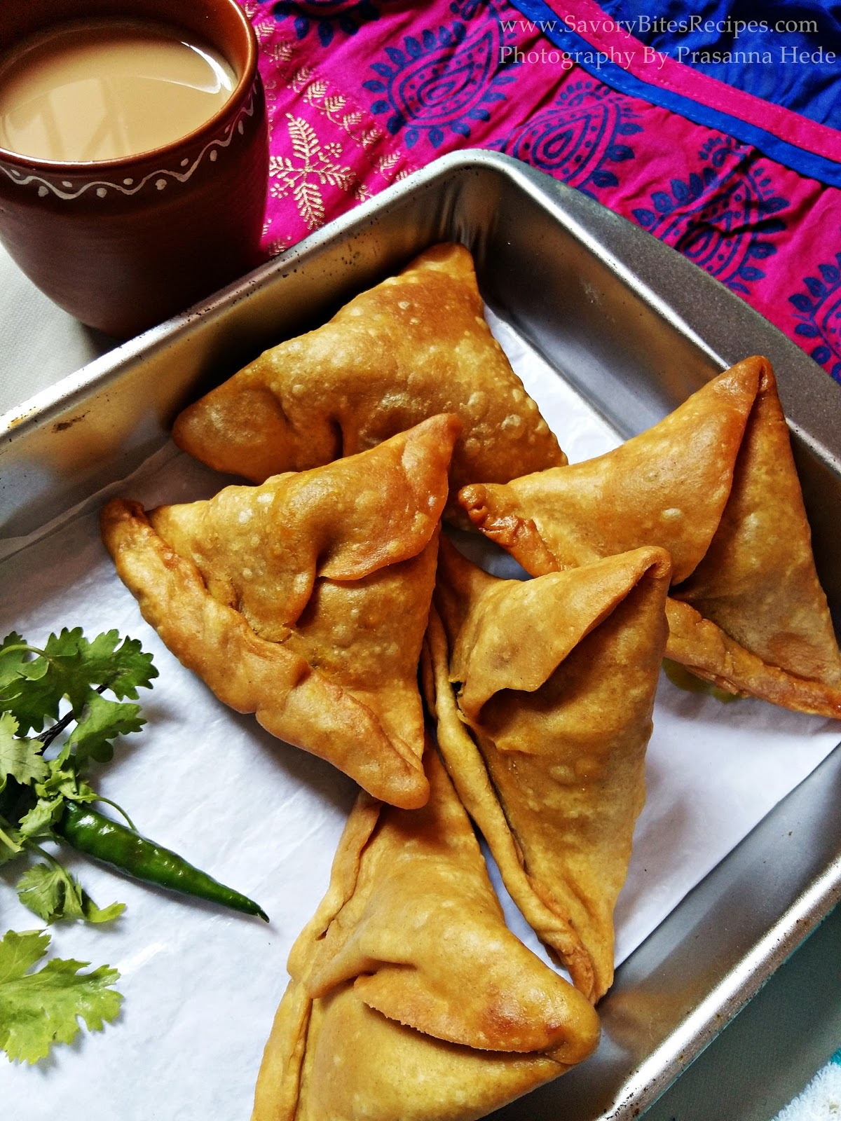 Mushroom samosa tea time snack Indian Street food