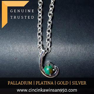 liontin batu mulia perak emas paladium platina