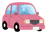ピンクの自動車のイラスト
