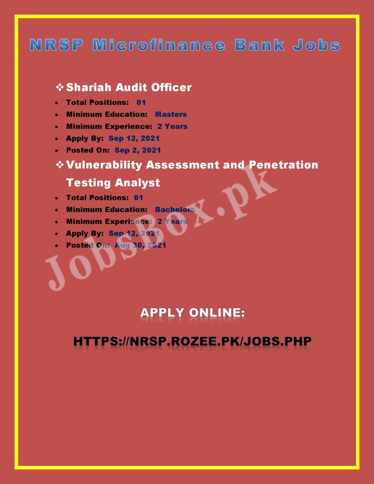https://nrsp.rozee.pk/jobs - NRSP Microfinance Bank Jobs 2021 in Pakistan