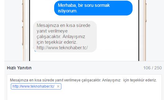 facebook hızlı yanıtlar