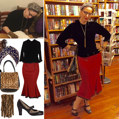 Gail Carriger in Vintage 1940s Black Velvet Top and a Red Trumpet Skirt with Leopard Accessories