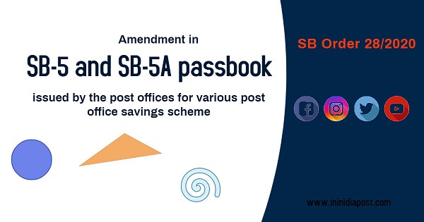 Amendment in passbooks issued by post offices for various post office savings scheme