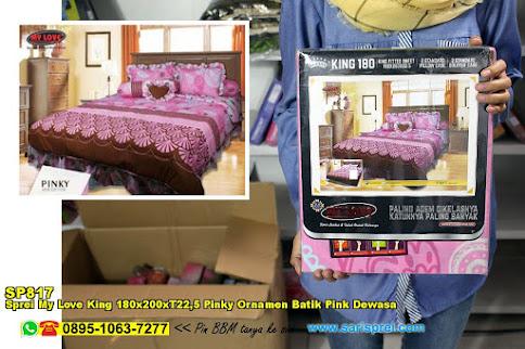 Sprei My Love King 180x200xT22,5 Pinky Ornamen Batik Pink Dewasa