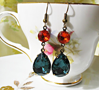 image vintage glam it up earrings kiahla montana blue hyacinth orange