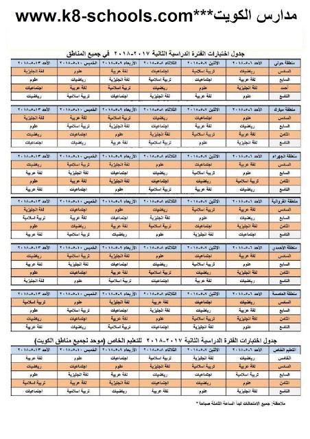 جدول اختبارات جميع الصفوف