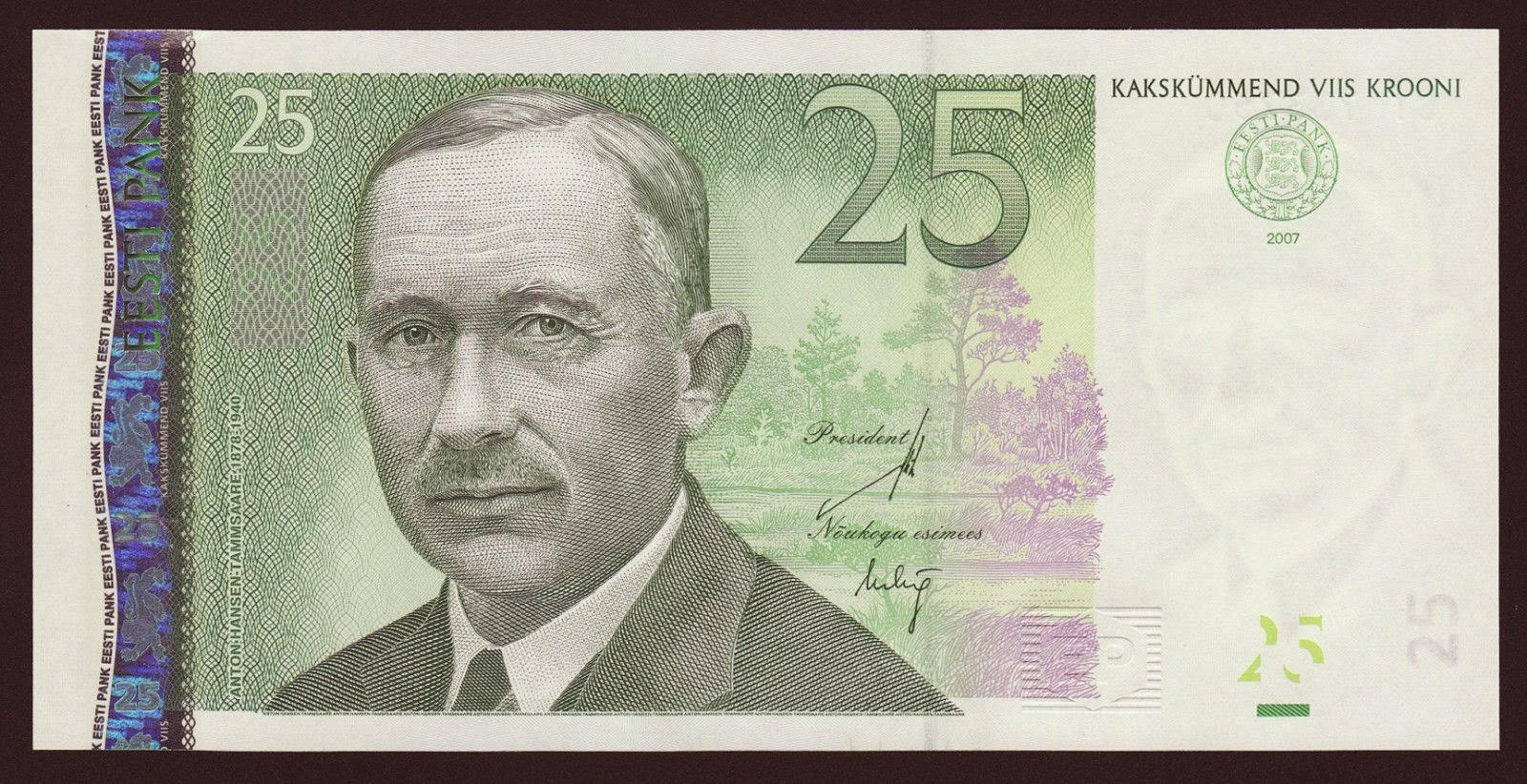 Estonia currency money 25 krooni banknote, Anton Hansen Tammsaare