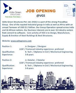 B. Tech / Diploma in Civil / Mechanical Engineering  Jobs Vacancy In Volta Green Structures Pvt. Ltd.