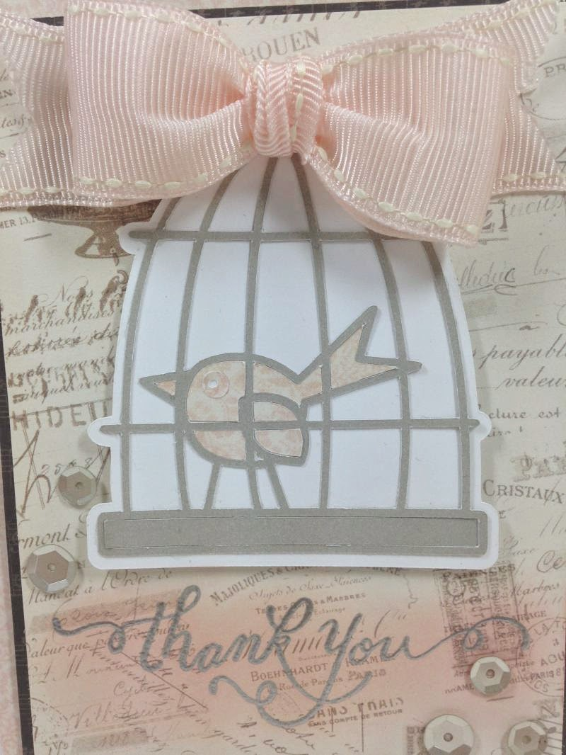 Cricut birdcage thank you card closeup