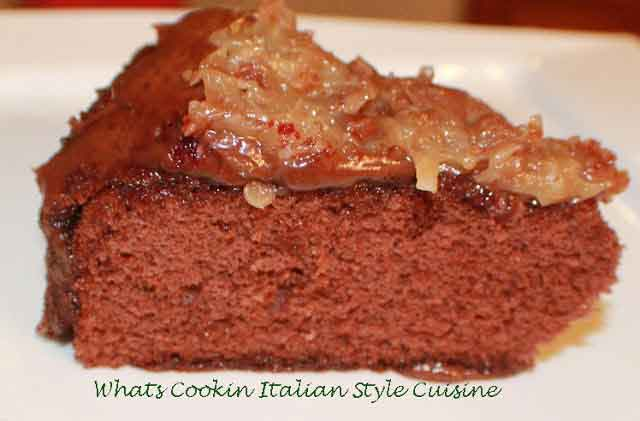 this is a slice of German chocolate doctored cake mix cake with pecan coconut frosting