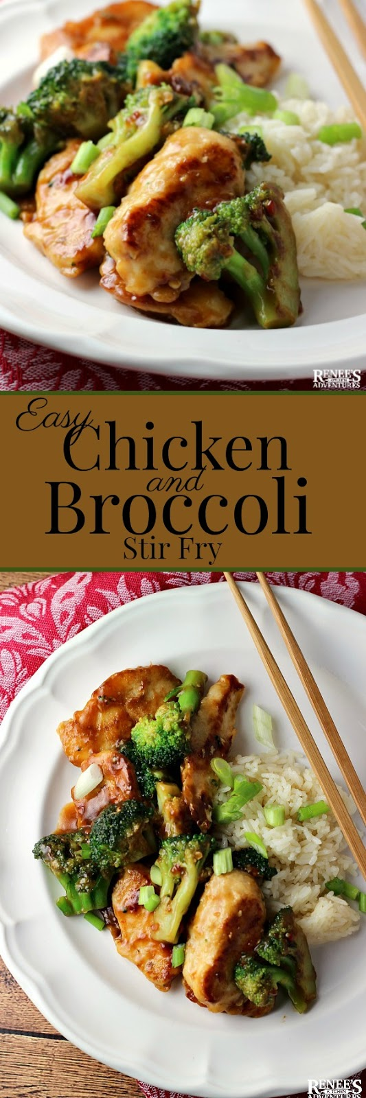Easy Chicken and Broccoli Stir Fry by Renee's Kitchen Adventures - Easy stir fry recipe made with marinated chicken breast pieces, broccoli and a ginger garlic sauce. Easy dinner perfect for busy weeknights. A #WeightWatchers inspired recipe! #Asian #stirfry #ChineseNewYear
