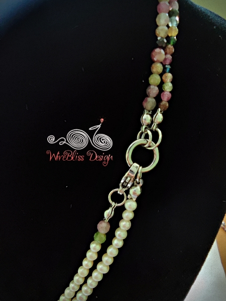 Tourmaline and Pearl Face Mask, Eyeglasses Strap, close up of connection point