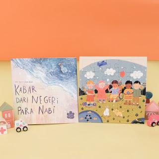 gambar buku dongeng dan puzzle