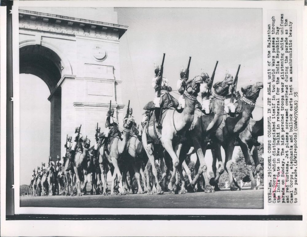 A Unit of the Rajasthan Camel Corps passes through the India Gate in New Delhi in rehearsal for the India Republic Day Parade - 1958