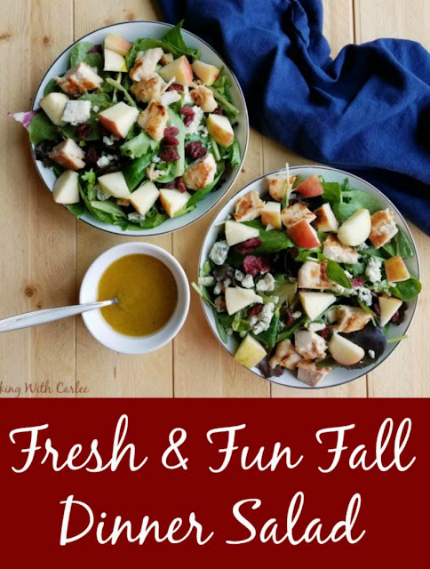 The crunch of fresh apples, the sweetness of dried cranberries, savory chicken and cheese, and fresh greens come together in this great salad that helps bridge the seasons when you still want something light but fall flavors are calling your name! The homemade dressing is perfect for all kinds of salads as well!