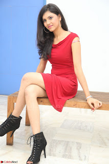 Mounika Telugu Actress in Red Sleeveless Dress Black Boots Spicy Pics 016.JPG
