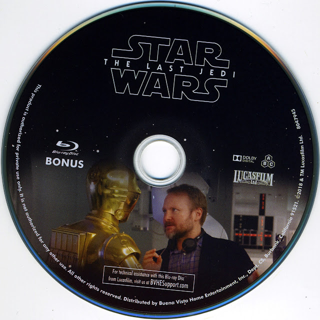 Star Wars: The Last Jedi [Bonus Disk] Bluray Label