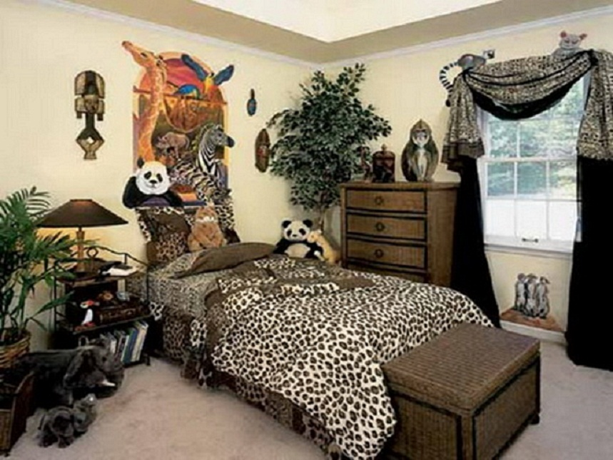 cheetah print room ideas with storage bench