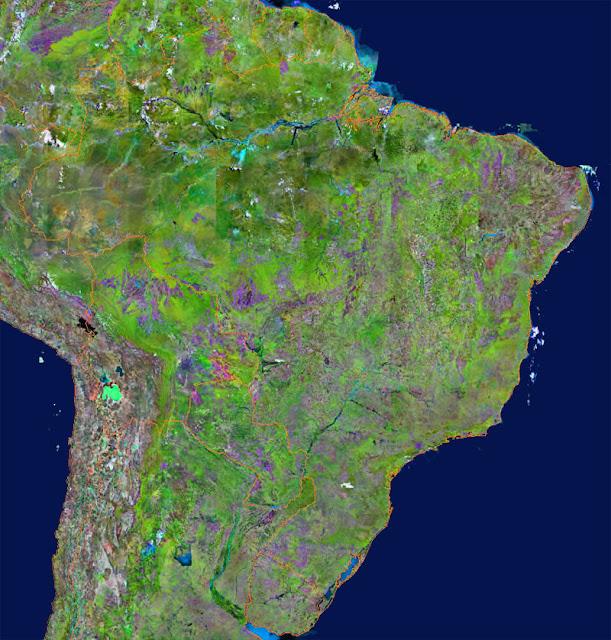 Gambar Peta Negara Brazil tampak dari satelit