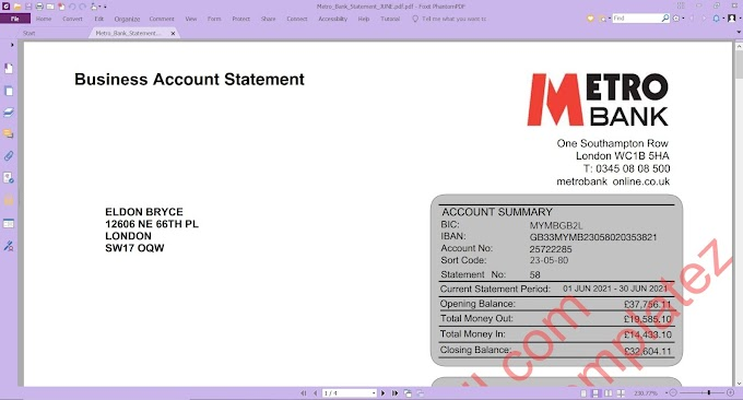 METRO BANK UK STATEMENT EDITABLE PDF TEMPLATE